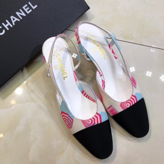 Chanel TOP Fashion Leather Woman High-heeled sandals 6.5 cm high