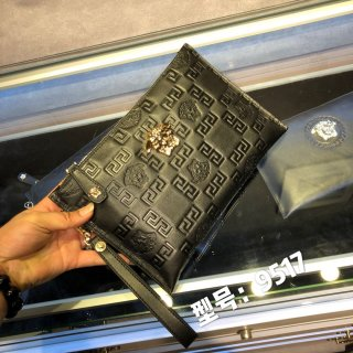 Versace classic fashion high quality leather man clutch bag wallet+ BOX