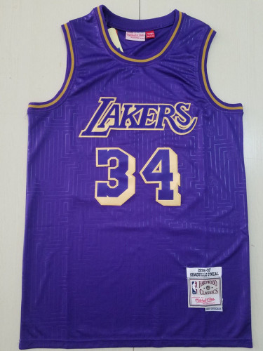 Los Angeles Lakers Shaquille O'Neal 34 Purple Throwback Classics Basketball Jerseys