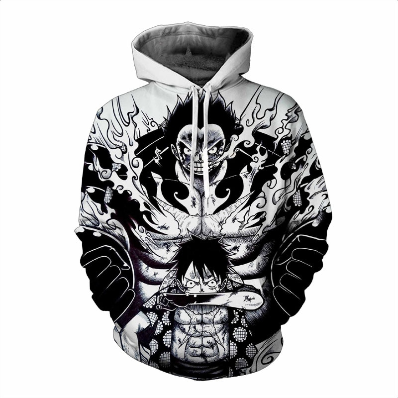 Anime One Piece Hoodie 3d Print Pullover Sweatshirt Monkey D Luffy Ace Sabo Kaido Battle