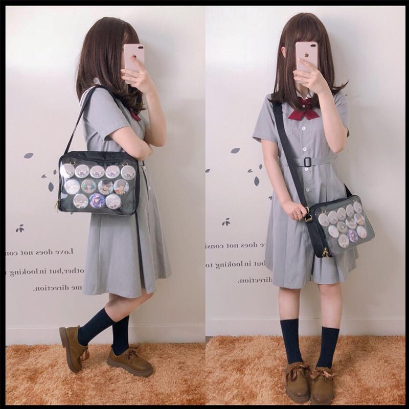 Details about  /Japanese Lolita Harajuku Square Shoulder Itabag Crossbody Transparent Handbag