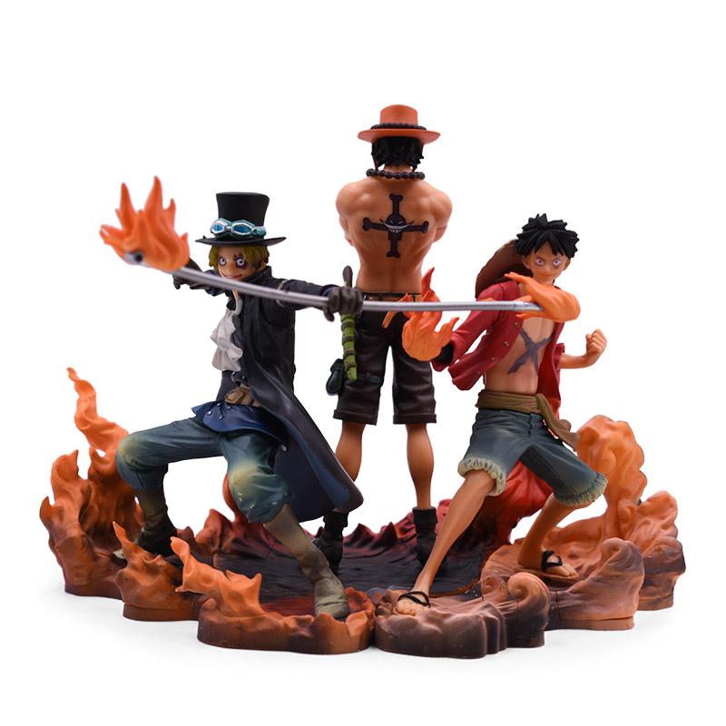 One Piece Brotherhood 3pcs//set  Luffy Ace Sabo Xmas gift PVC Figure