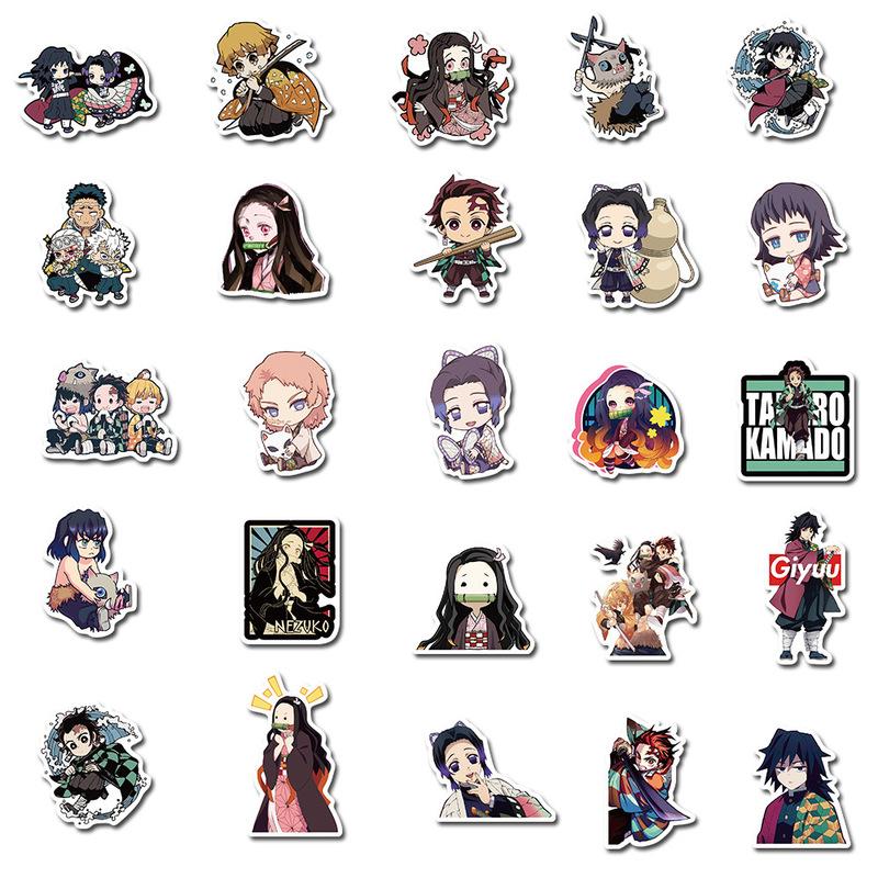 50Pcs Demon Slayer Kimetsu Graffiti Vinyl Decal Stickers Pvc Waterproof Stikkar
