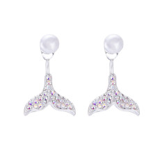 Ins wind mermaid tail earrings Korean simple temperament diamond-mounted pearl earrings