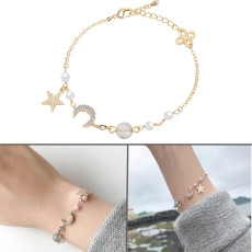 Korean simple Star Moon bracelet Simple Flash Stone Acrylic High Gloss Pearl Zircon Bracelet
