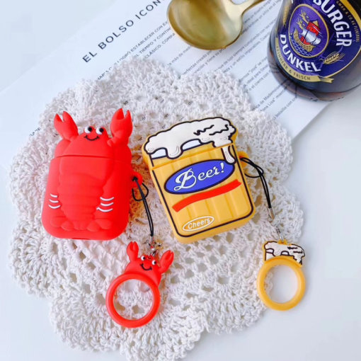 Cartoon lobster beer image AirPods Case Bluetooth wireless earphone silicone protective cover