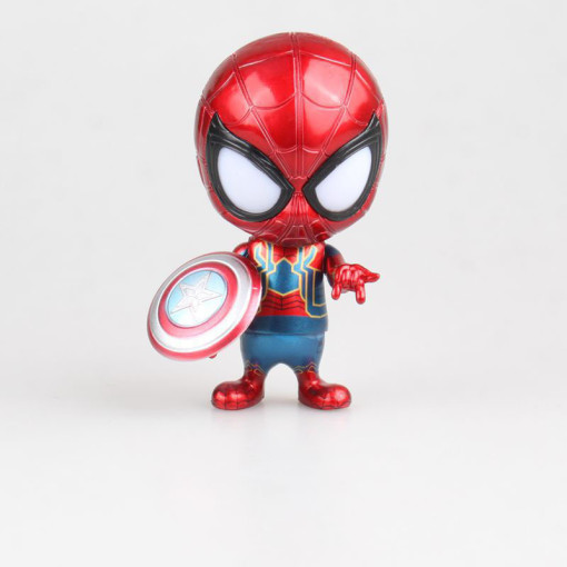 Marvel Avengers Spider-man Can roll the head Q version figure