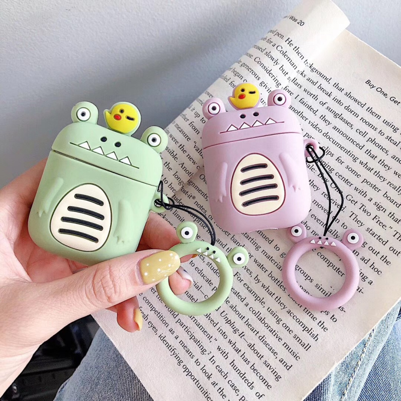 3D Cartoon Dinosaur AirPods Case Ring Strap Silicone Earphone Cover