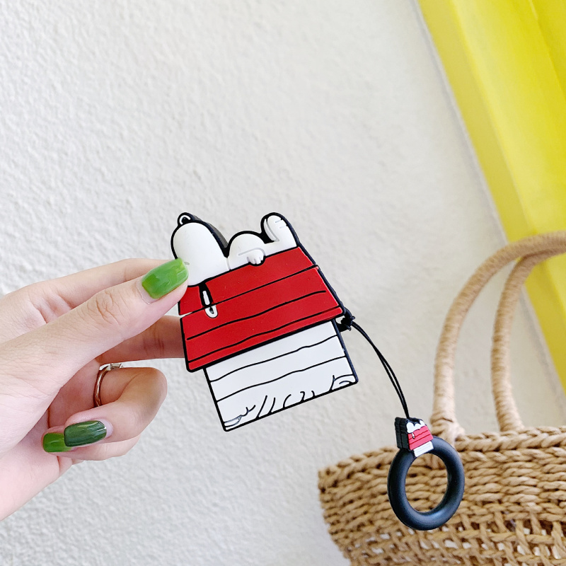 ins roof Snoopy Airpods case charging wireless Bluetooth silicone headset drop lanyard