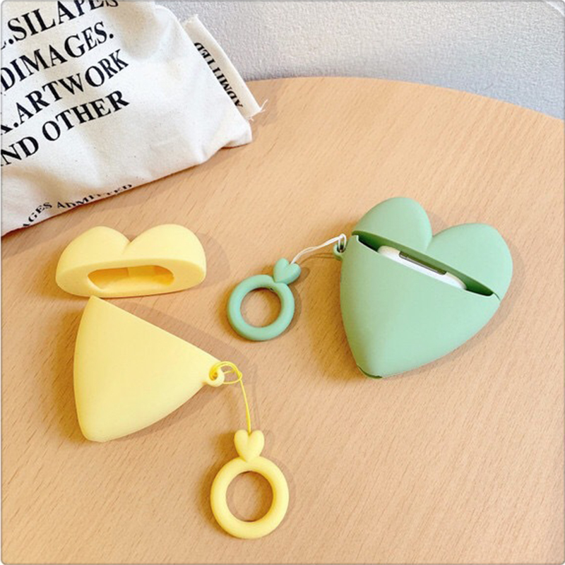 Korean ins Heart-shaped apple airPods case soft silicone Bluetooth shell fall-proof