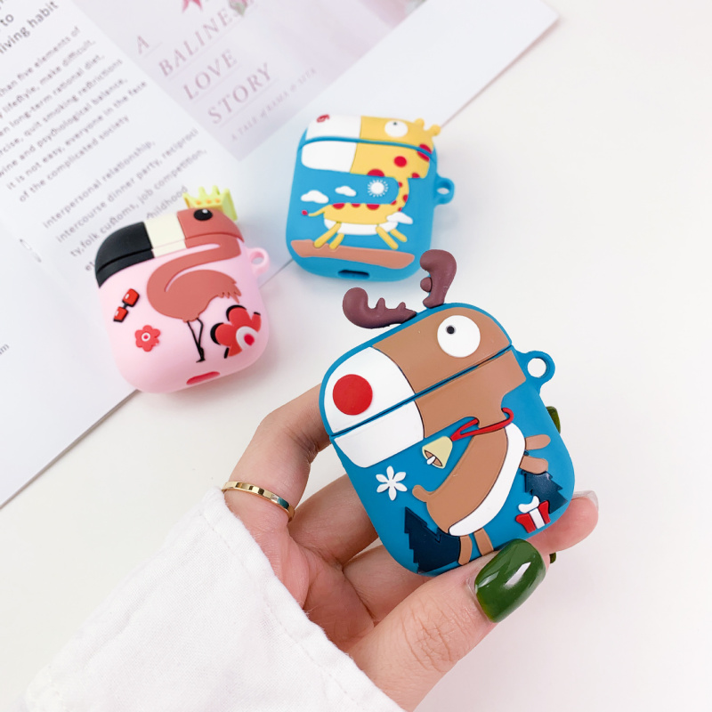 Giraffe Flamingo Airpods Case Silicone 3D Cartoon Cover Protective Accessories Kits