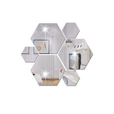 Hexagon 3D mirror wall sticker for restaurant aisle floor living room