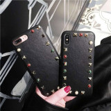 Retro style iPhone 11 Pro Max Phone case rivet leather iPhone 7 8 plus x / xs phone Cover