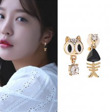 Cute cat fish bone shape S925 silver earrings