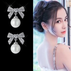 Bowknot pearl S925 silver earrings cute piercing