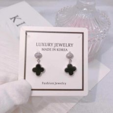 Fortune Four Leaf Clover Diamond Long S925 Sterling Silver Earrings