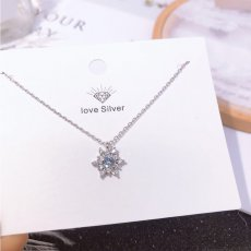 Snow Flower Diamonds Clavicle Necklace S925 Sterling Silver Necklace