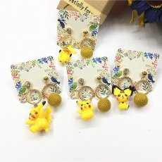 Pocket Monster Pikachu Pendant Earring Asymmetrical Piercing