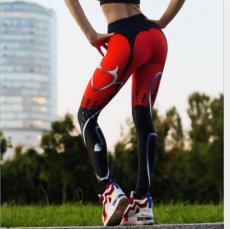 Heart Print Leggings Women Red Black Patchwork Sporting Pants Women's Fitness Leggings
