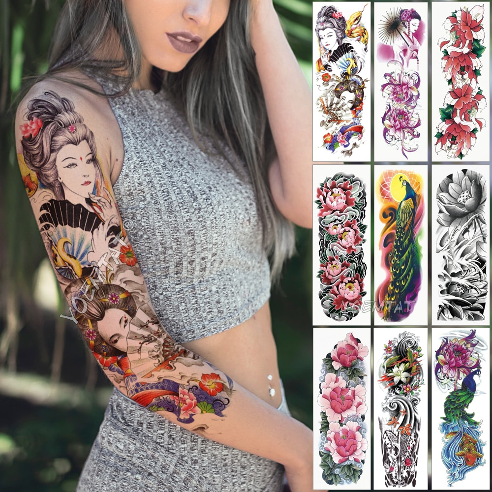 Large Arm Sleeve Tattoo Japanese Geisha Snake Waterproof Temporary Tattoo Sticker Lotus Peacock Girl Tatoo Body Art Women