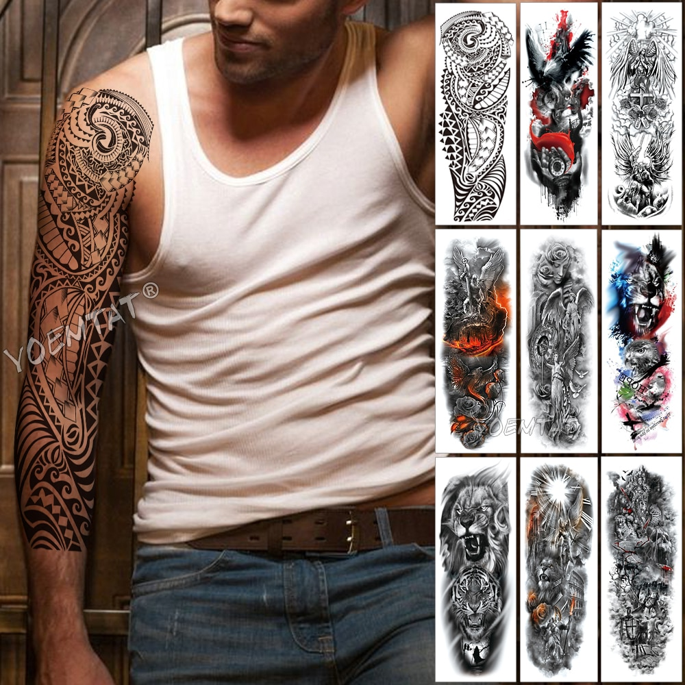 d7f3e1f4b Large Arm Sleeve Tattoo Maori Power Totem Waterproof Temporary Tattoo  Sticker Warrior Samurai Angel Skull Men Full Black Tatoo Item NO:  32964564671