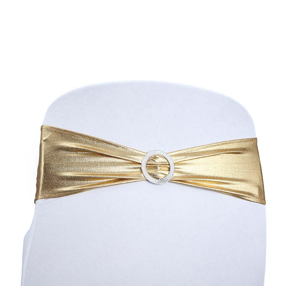Amazing Us 44 5 Kivvo 50Pcs Spandex Chair Sashes Gold Bands For Lamtechconsult Wood Chair Design Ideas Lamtechconsultcom