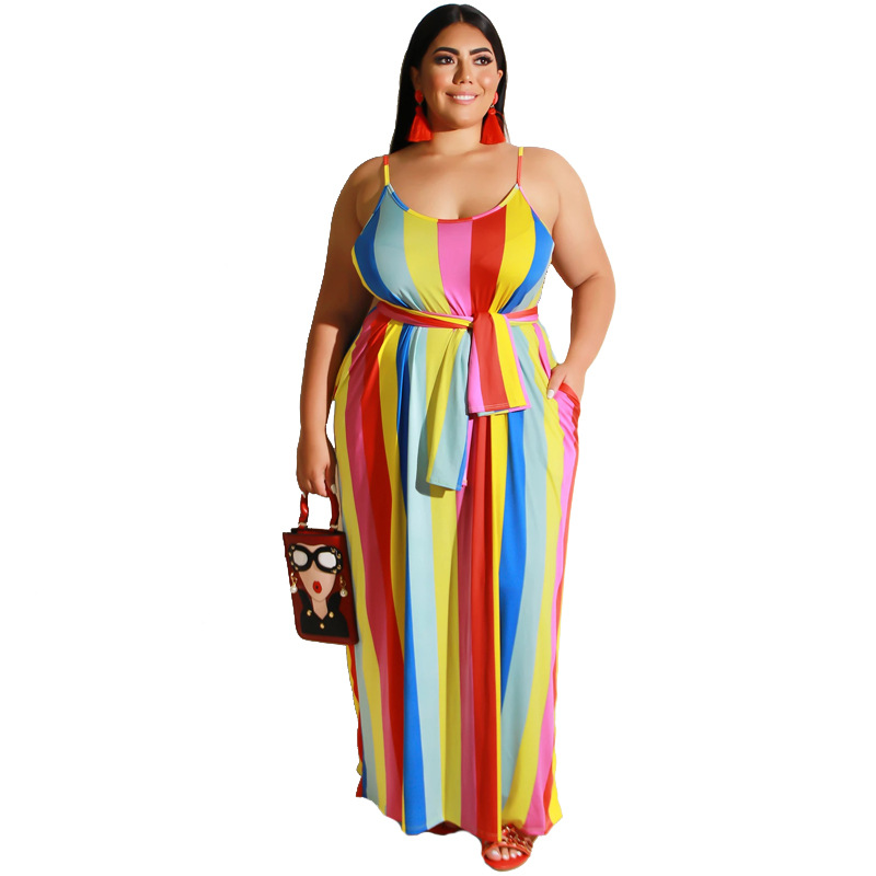 Plus Size Rainbow Striped Belted Maxi Cami Dress