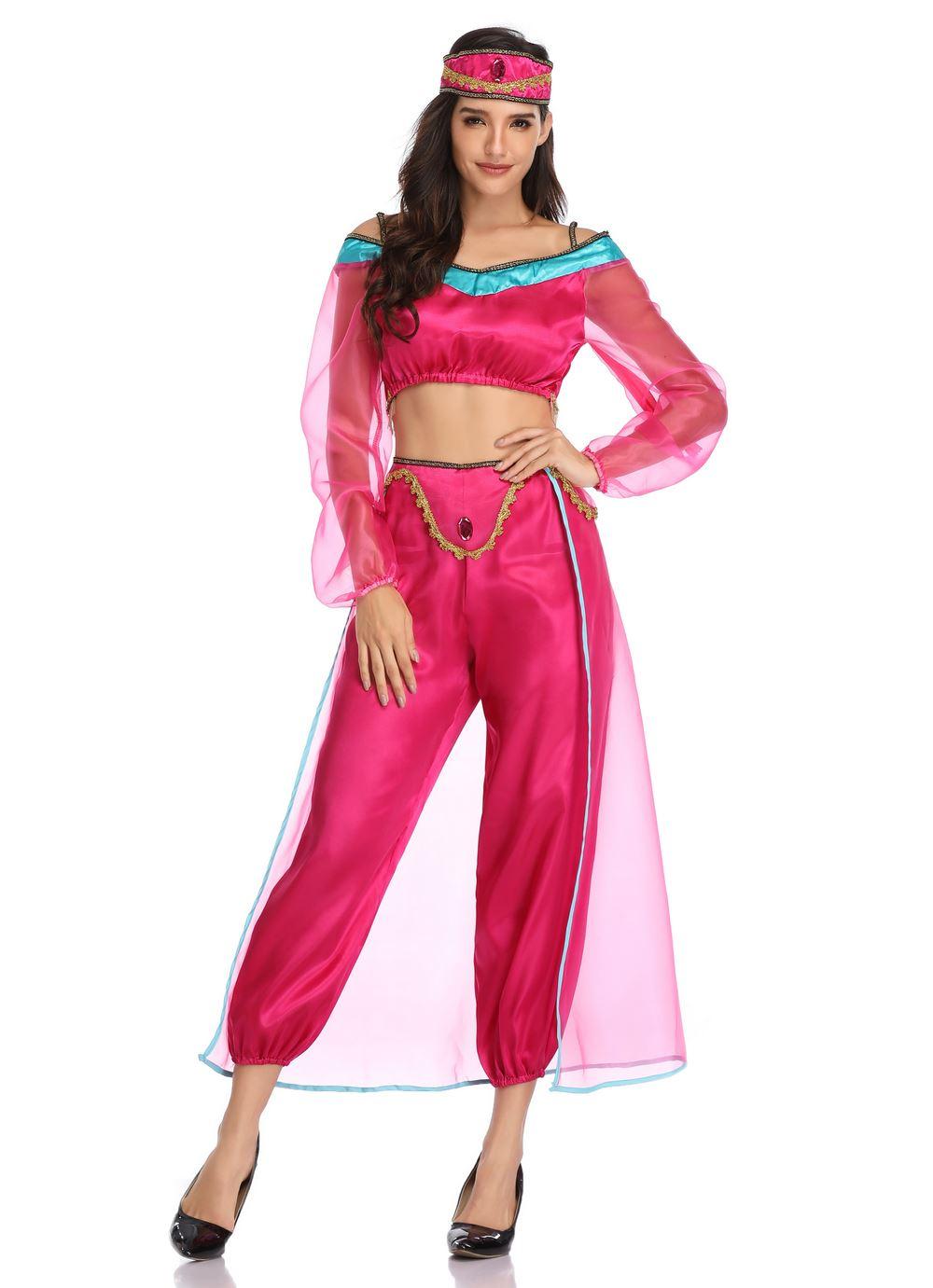 Aladdin Princess Jasmine Costume Tops Pants Headband On Sale For