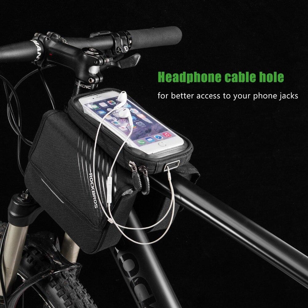 Black Bicycle Cycling Front Tube Frame Bag ROCKBROS  Waterproof Road Bike Bag BG