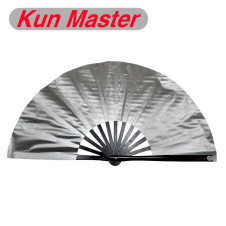 Kun Master 34 Cm  Bamboo Chinese Kung Fu Tai Chi Fan Silver Cover Black Staves