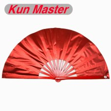 Kun Master 34 Cm  Bamboo Chinese Kung Fu Tai Chi Fan Shine  Red Cover