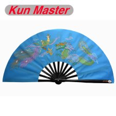 Kun Master 34 Cm  Bamboo Chinese Kung Fu Tai Chi Fan With Dragon And Phoenix Design Blue Cover