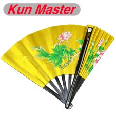 Kun Master 34 Cm  Bamboo Chinese Kung Fu Tai Chi Fan Gold With Peony Design Two Sides Covers Free Match