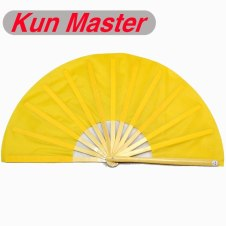 34cm Kun Master Bamboo Tai Chi Kung Fu Fan  Natural  yellow Color Frame Yellow Cover