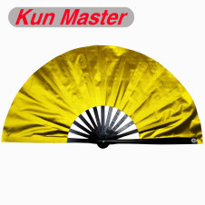 Kun Master 34 Cm  Bamboo Chinese Kung Fu Tai Chi Fan Gold Cover Black Staves