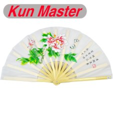 Kun Master 34 Cm  Bamboo Chinese Kung Fu Tai Chi Fan With Peony Design White
