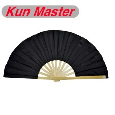 34cm Kun Master Bamboo  Tai Chi Fan Natural Color Frame Black Cover