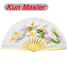 Kun Master 34 Cm  Bamboo Chinese Kung Fu Tai Chi Fan With Dragon And Phoenix Design White