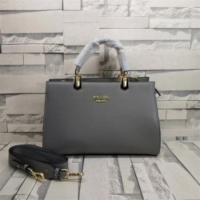 Prada bag grey real leather business metropolis bag with high quality luxury