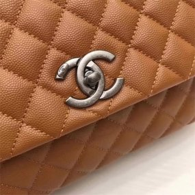 chanel bag high quality  yellow original leather new silver Buckle handbag