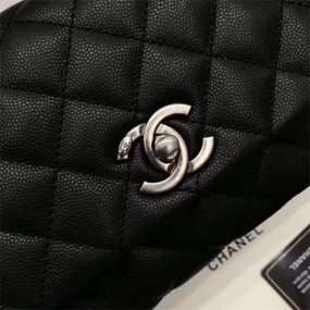 chanel bag high quality Black postmodern handbag original leather