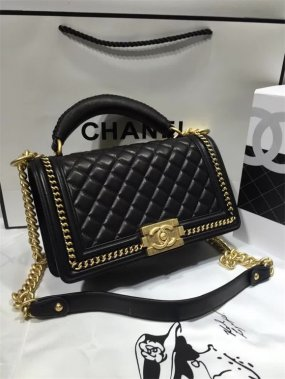 chanel bag high quality Black original leather gold Buckle chain high quality