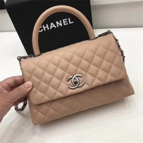 chanel bag high quality Apricot color briefcase original leather high quality