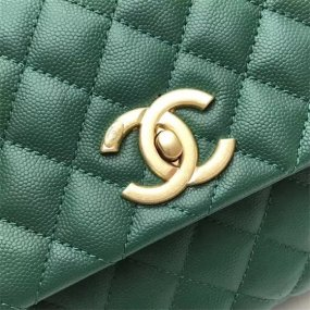 chanel bag high quality Emerald green handbag original leather new gold Buckle