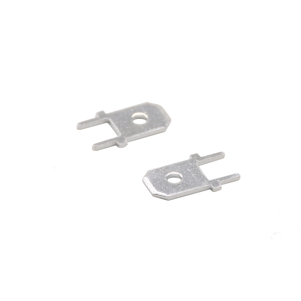 100pcs 6.3 Inserts Plug  male Terminal 250 PCB Solder lug  thickness 0.8 two legs ,PCB welding sheet