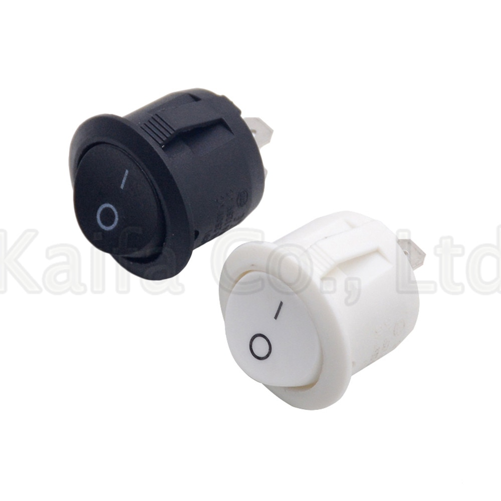 10PCS SPDT Small Round Boat Rocker Switches Black Mini Round Black White 2 Pin ON-OFF Rocker Switch