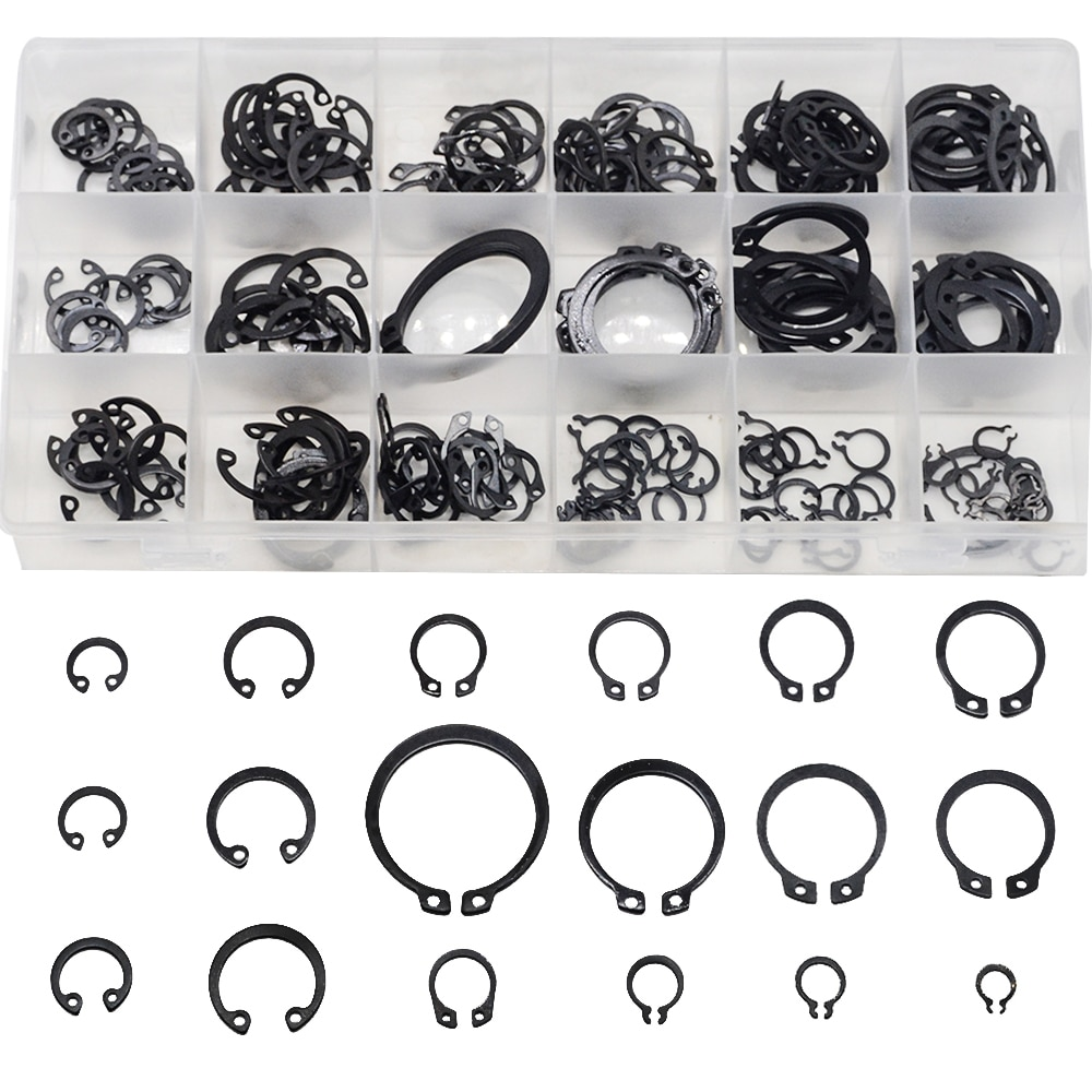 225PCS Circlip Set External/Internal Retaining E-type Cir clip Lock Snap Retaining Ring Assortment Set holes Shaft Collar Washer