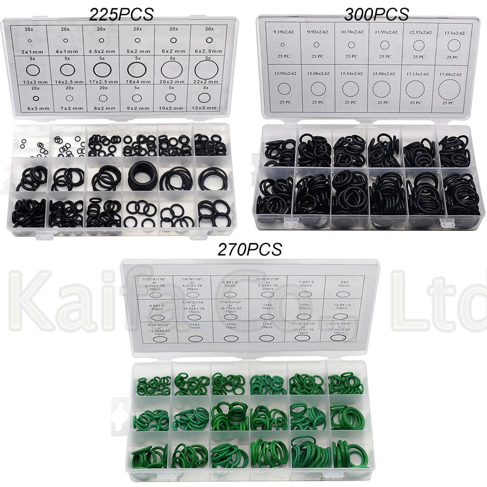 225PCS 270PCS  300PCS O Ring Rubber Washer Seals Assortment Black O-Ring Seals Set Nitrile Washers High Quality For Car Gasket