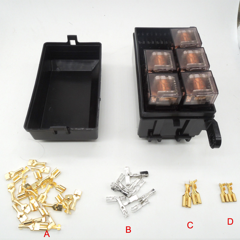 Car seat relay fuse box 5 engine compartment insurance car insurance holder include 5 relay 12V 80A