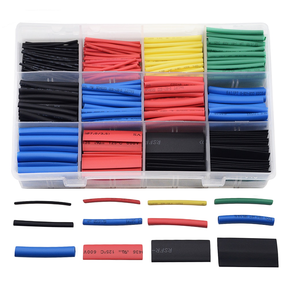 560Pcs/box Heat Shrink Tubing 2:1 Electrical Wire Cable Wrap Assortment Electric Insulation Tube Kit